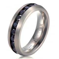 Mens Titanium Wedding Engagement Band Ring With Black Cubic Zirconia 7mm -Unisex