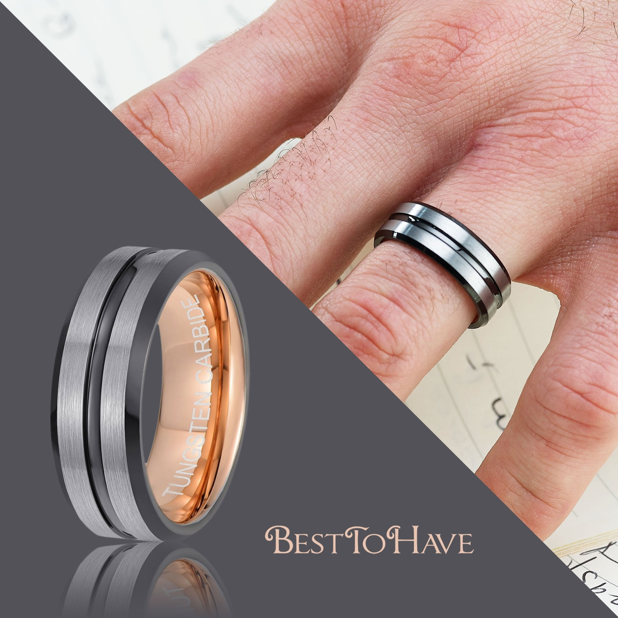 This is a graphic of Mens Tungsten Carbide Black / Grey Wedding Ring