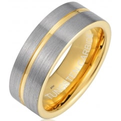 Mens Tungsten Carbide Gold Tone Wedding Engagement Jewelry Band Ring 8mm