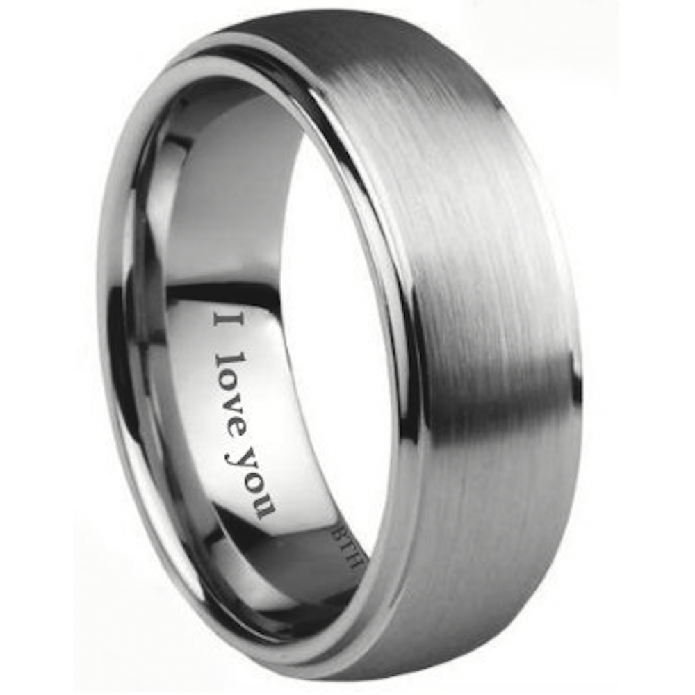 Men 39 S Tungsten Carbide Scratch Resistant I LOVE YOU Band