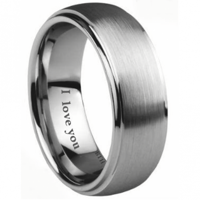 Men's Tungsten Carbide Scratch-resistant Engraved Inside With I Love You Classic Wedding Engagement Jewellery Band Ring