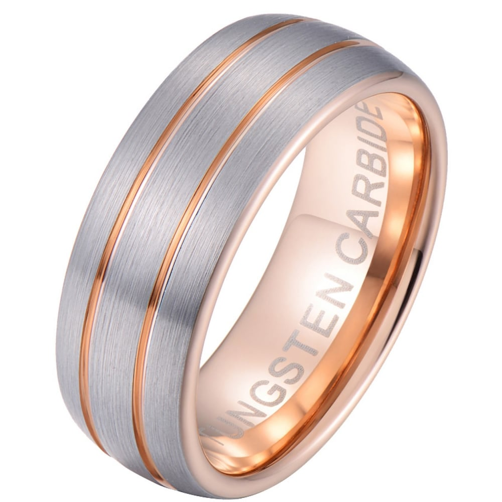 It is a picture of Mens Tungsten Carbide Wedding Band Ring - Rose Gold Tone