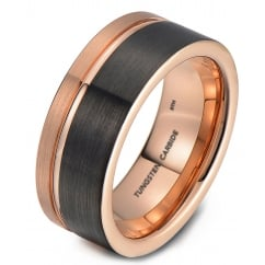 Mens Tungsten Carbide Wedding Band With Gunmetal Grey & Rose Gold Tone