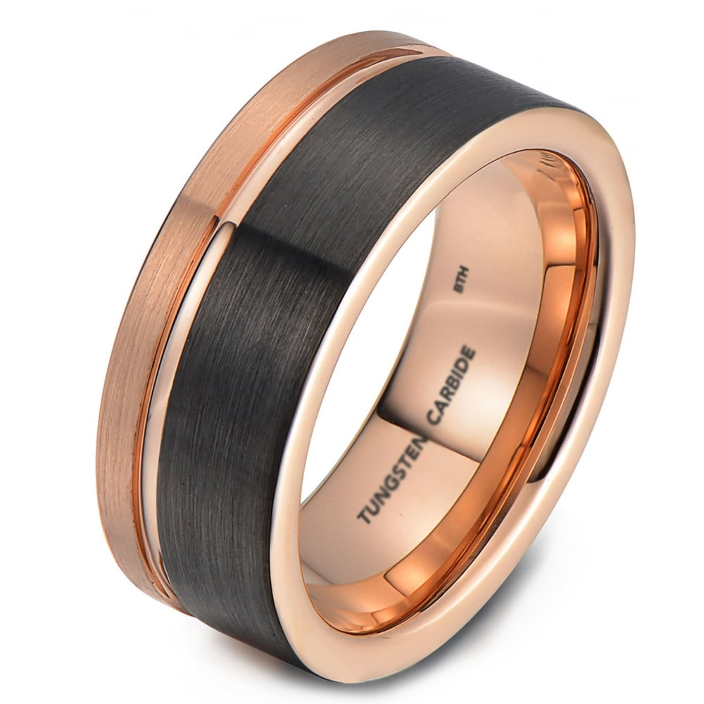 Mens tungsten wedding engagement band with rose gold for Mens gunmetal wedding rings