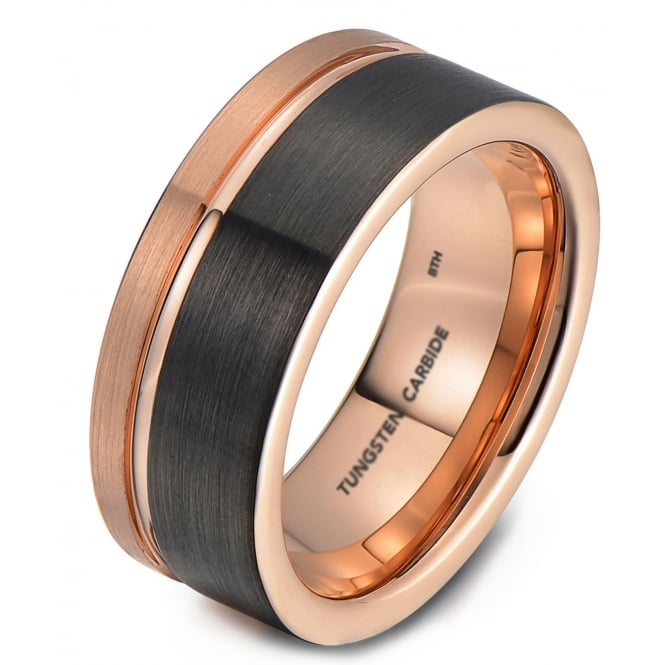 Mens Tungsten Carbide Wedding Engagement Band With Gunmetal Grey And Rose Gold Brushed Tone