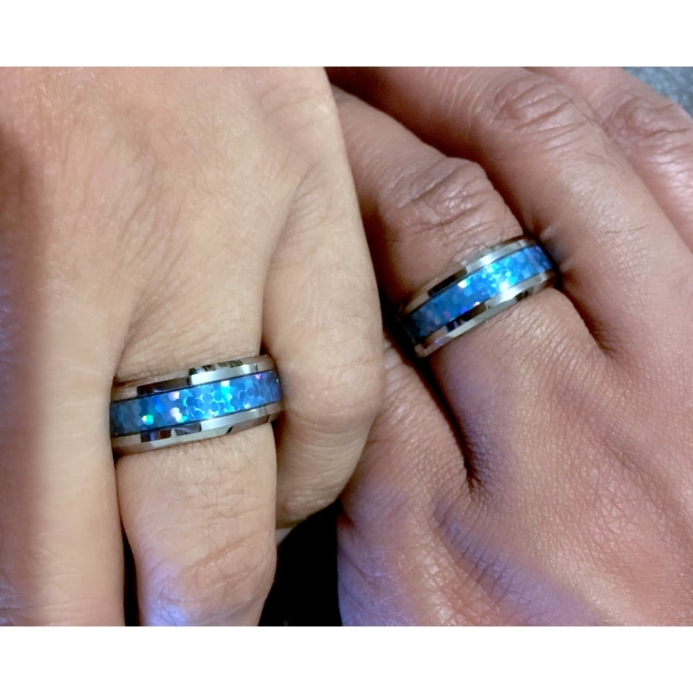 Mens Tungsten Wedding Band 8mm With Blue Green Opal Inlay