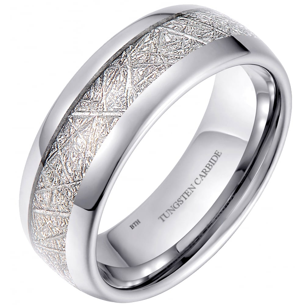 Mens Unisex 8mm Meteorite Inlay Tungsten Wedding Promise Band Ring