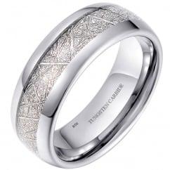 Mens/Unisex 8mm Meteorite Inlay Tungsten Wedding Promise Band Ring