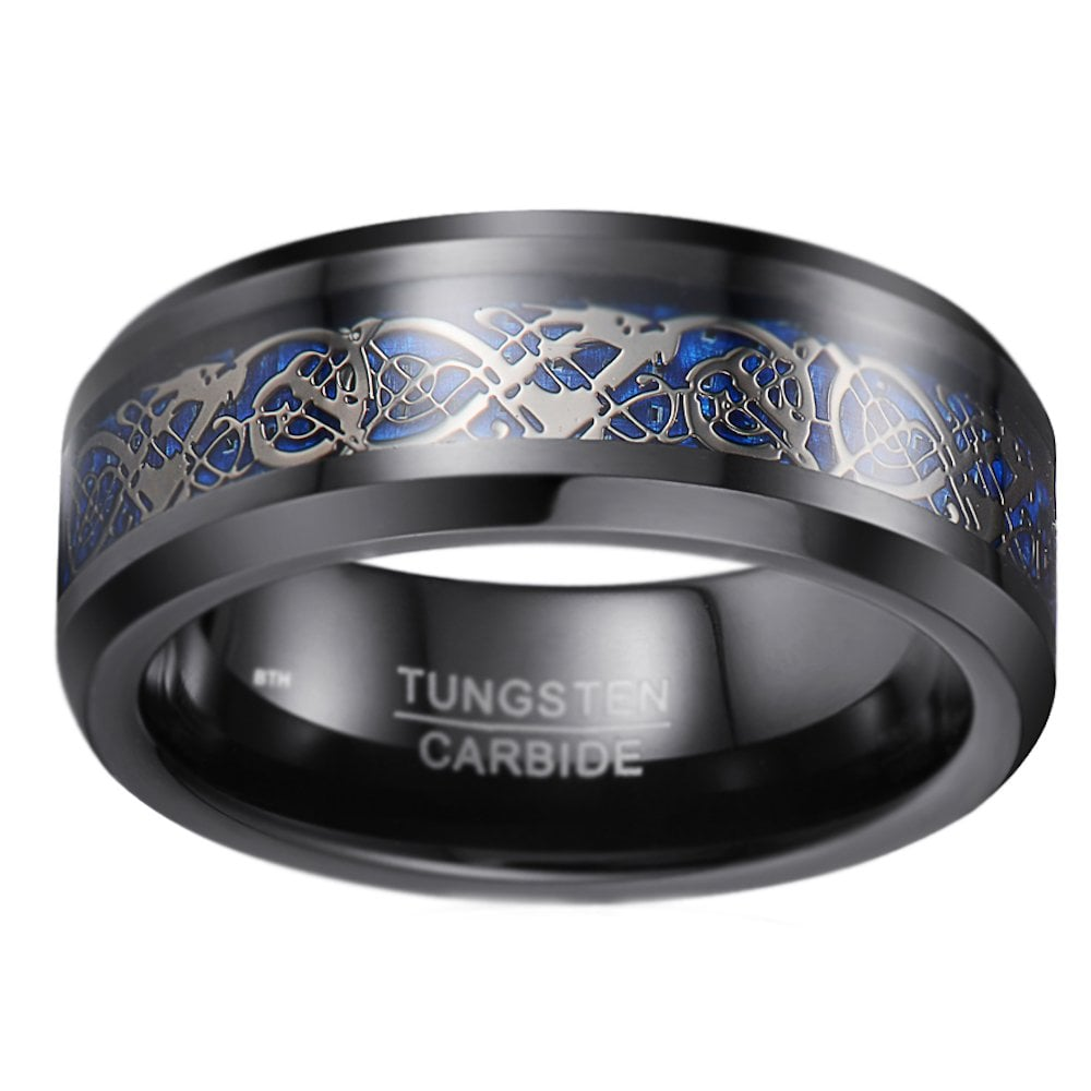 It is an image of Mens/Unisex Celtic Dragon Tungsten Carbide Wedding Band