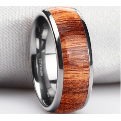 Mens/Unisex KOA Wood Inlay Titanium Wedding Band Ring-8mm