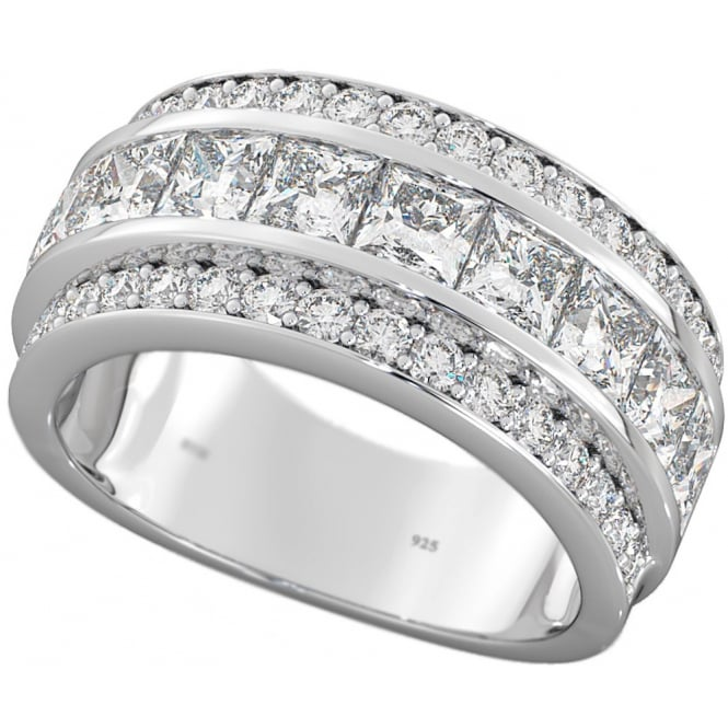 Moonstruck Sterling Silver Half Eternity Ring with Cubic Zirconia