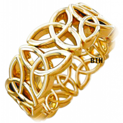 New Boxed Gold Colour Trinity Knot Design Celtic Stainless Steel Mens Wedding Band Ring 8MM