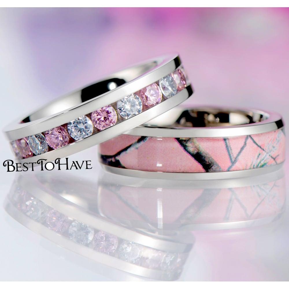 Pink Sapphire CZ Full Eternity Titanium Band And Pink Camo Titanium Wedding  Ring Set