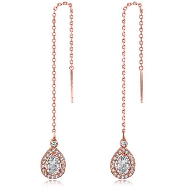 Rose Gold Tone Sterling Silver Chain Earrings with Teardrop Cubic Zirconia