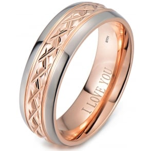 Rose Gold Tone Titanium Wedding Engagement Ring Engraved Inside With I Love You
