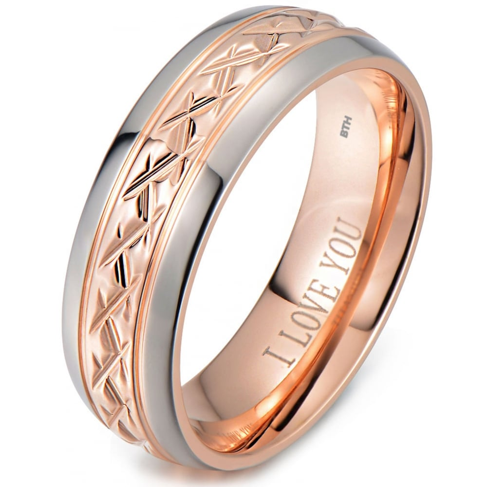 Rose Gold Tone Titanium Wedding Ring Engraved Inside With I Love You