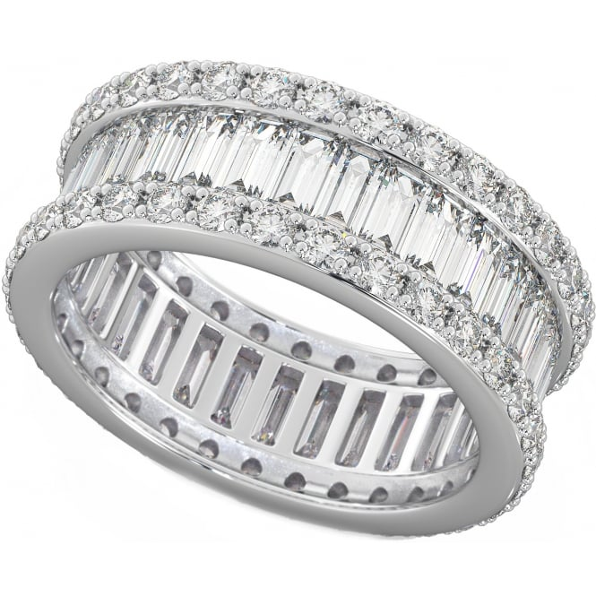 Round & Baguette Created Diamond CZ Full Eternity Ring in 925 sterling silver