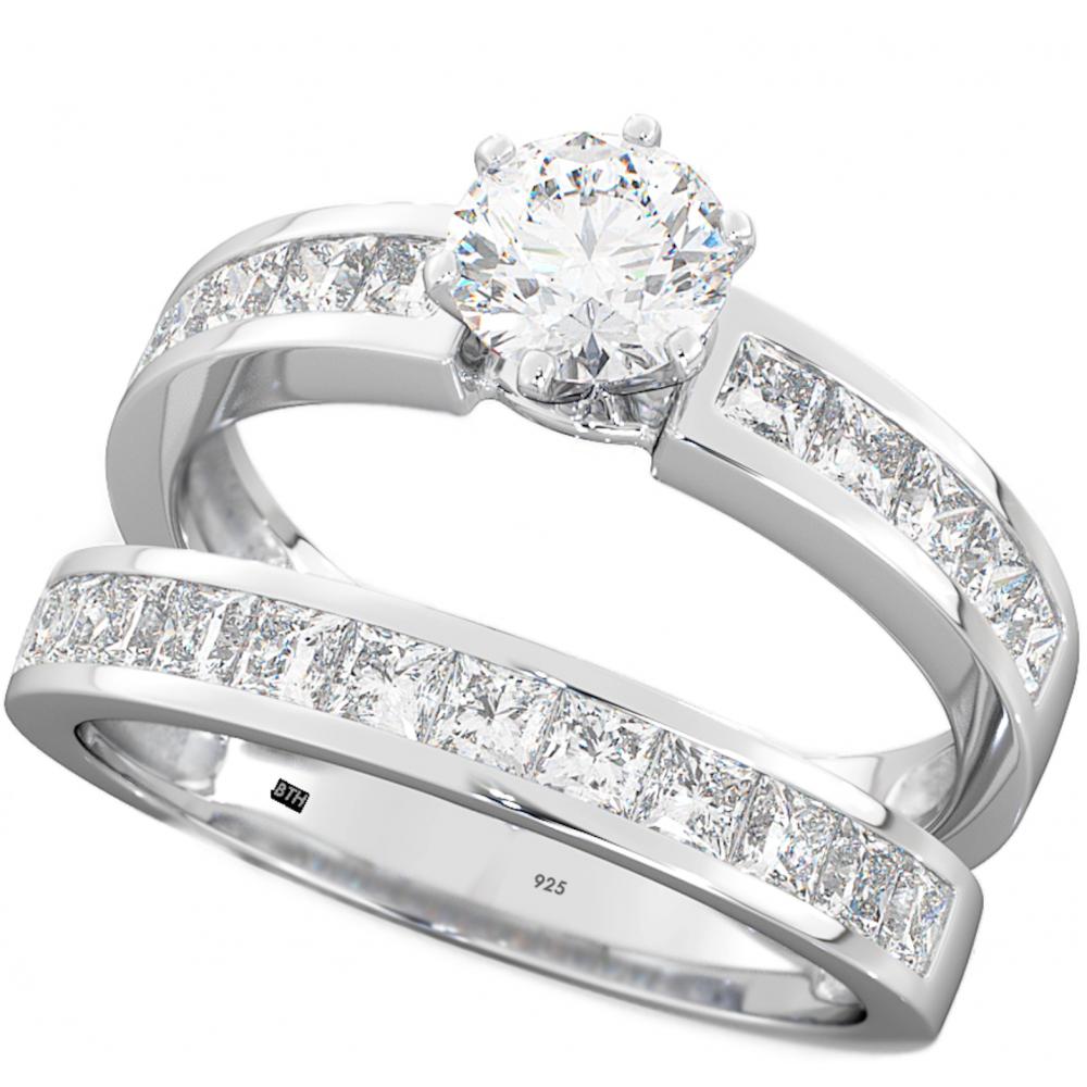 925 sterling silver wedding engagement bridal ring set. Black Bedroom Furniture Sets. Home Design Ideas