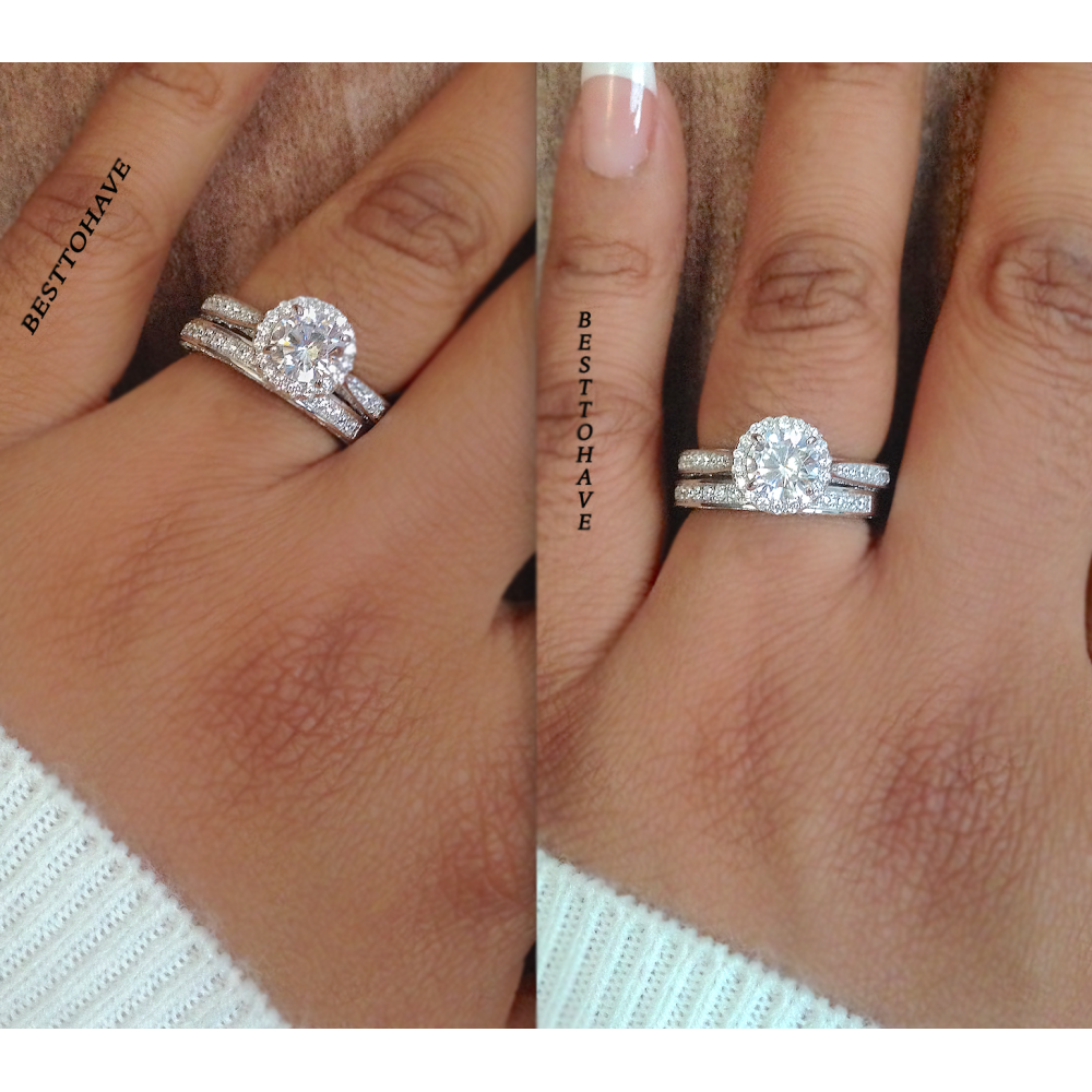 Round Cut Wedding Enement Halo Bridal Ring Set