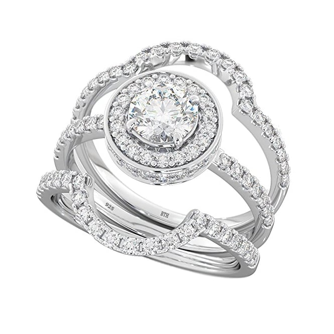 Round Cut CZ Halo Design 3 piece 925 Sterling Silver Affordable Wedding Engagement Bridal Ring Set