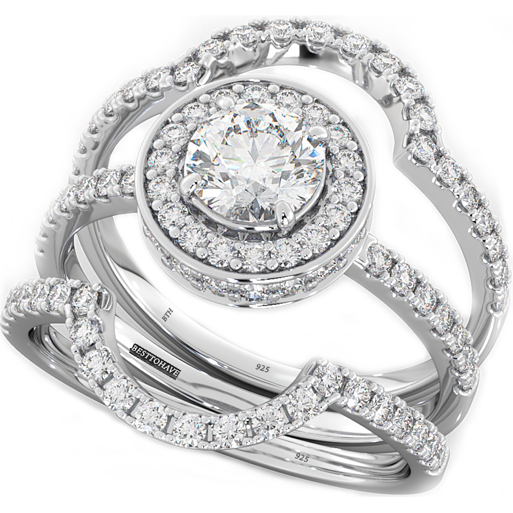 Round Cut CZ Halo Design 3 piece Genuine 925 Sterling Silver Luxury