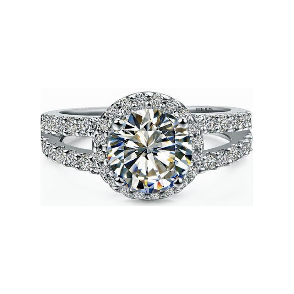 Round Cut CZ Halo Design Genuine 925 Sterling Silver Luxury Unique Affordable Wedding Engagement