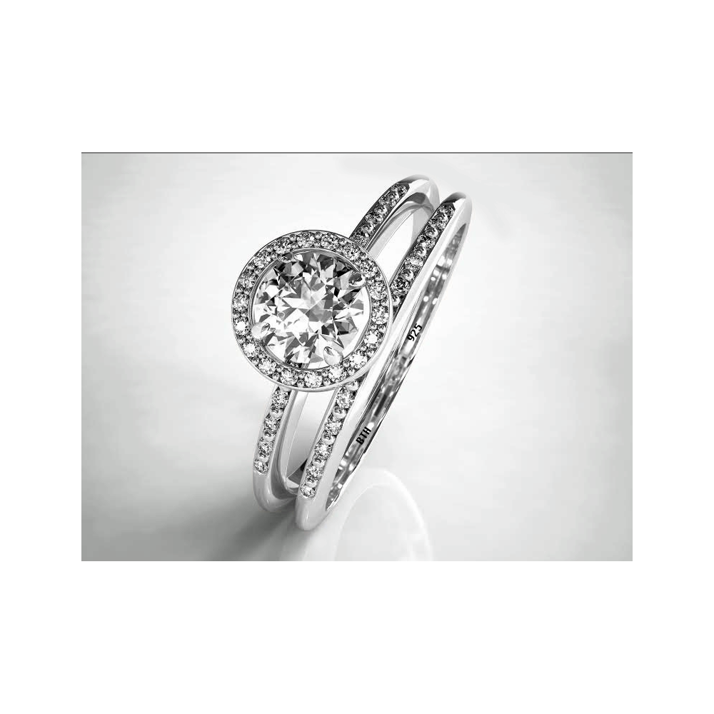 round cut cz halo sterling silver wedding engagement bridal ring set - Sterling Silver Diamond Wedding Ring Sets