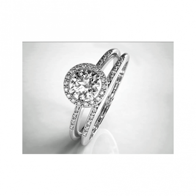 Round Cut CZ Halo Sterling Silver Wedding Engagement Bridal Ring Set