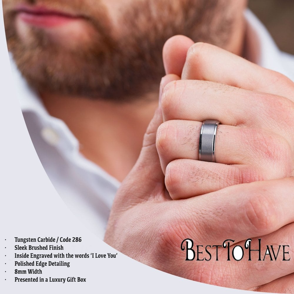 Scratch Resistant Tungsten Carbide Mens Wedding Band Ring Engraved With I Love You