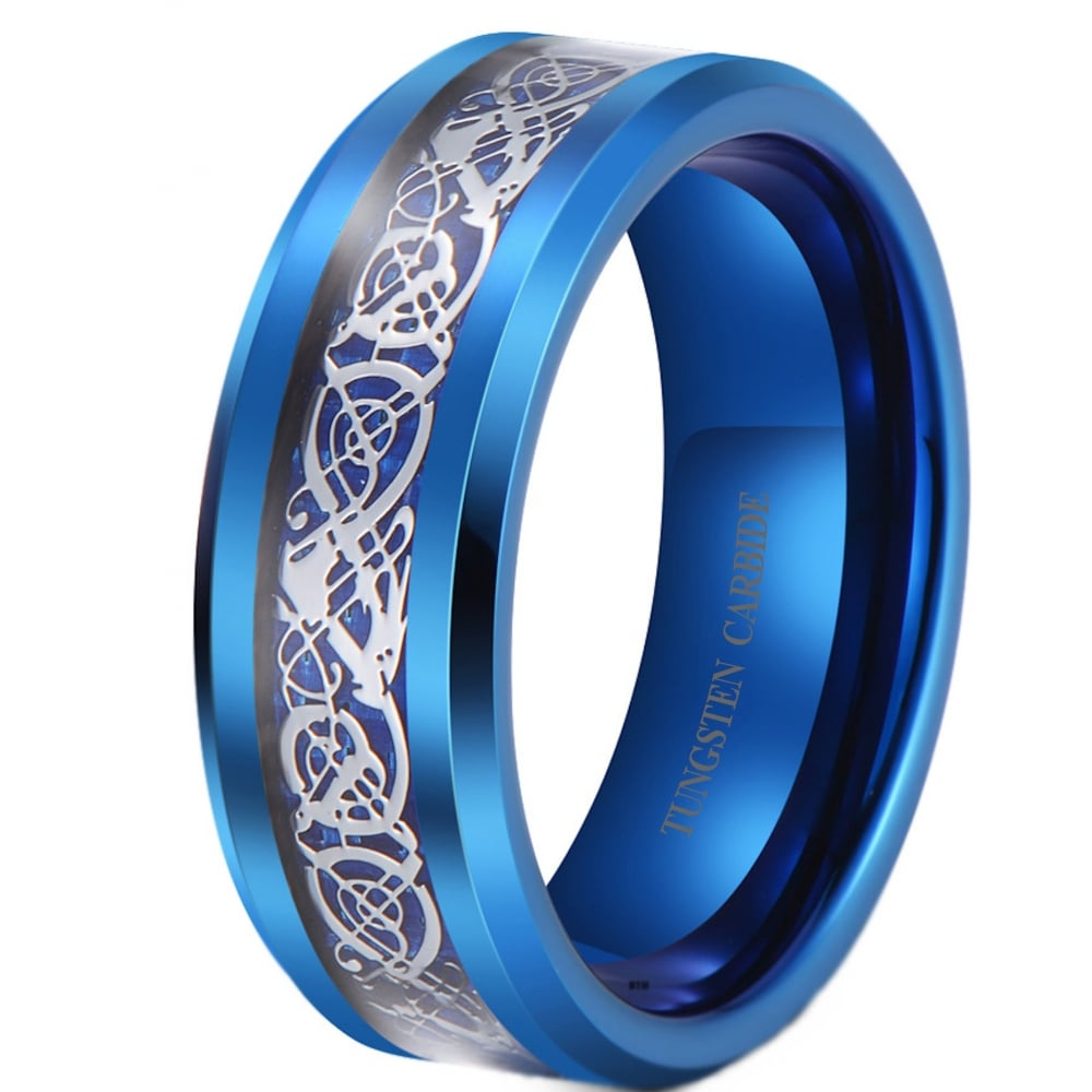 Blue Tungsten Carbide Dragon Wedding Band Ring