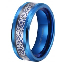 Silver Celtic Dragon Inlay Blue Tungsten Wedding Band Ring