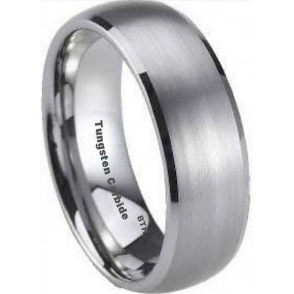 Mens Brushed Tungsten Carbide 8mm Engagement Wedding Band Eternity Ring