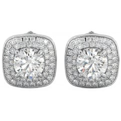 Starlight Sterling Silver Halo Stud Earrings with Cubic Zirconia