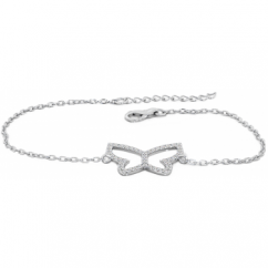 Sterling Silver Butterfly Chain Bracelet Embellished with Cubic Zirconia