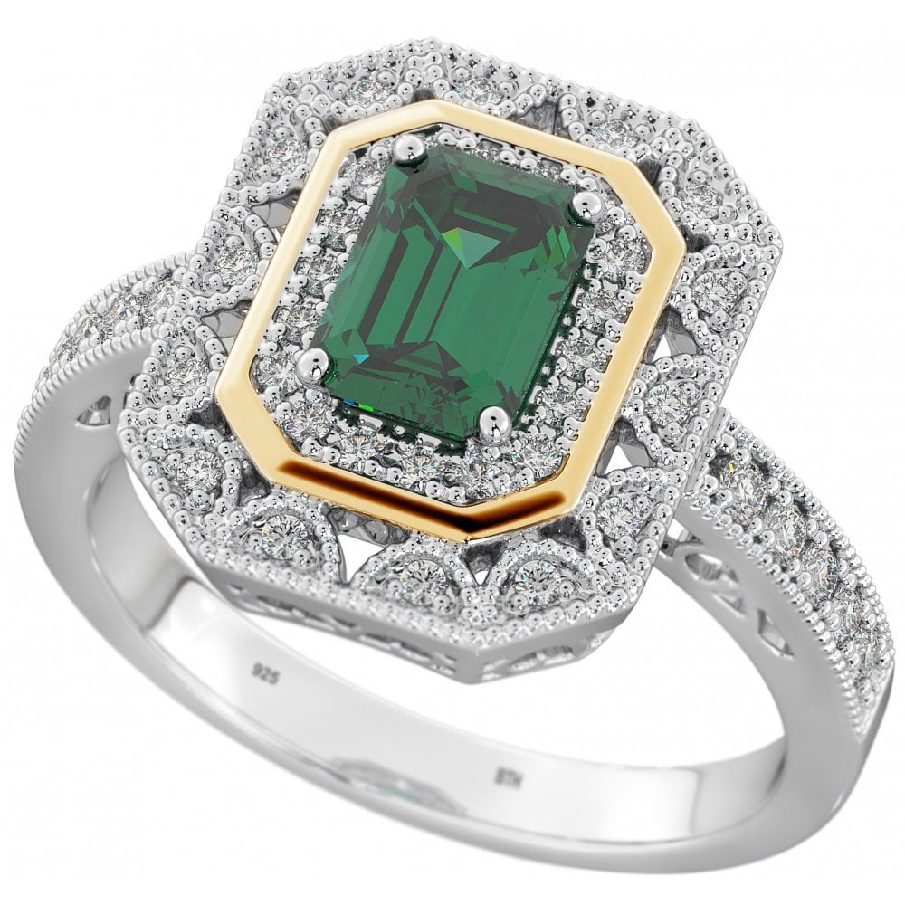 207e76d2281ad Sterling Silver Halo Ring with Green Emerald Cubic Zirconia