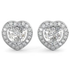 Sterling Silver Love Heart Halo Stud Earrings with Cubic Zirconia