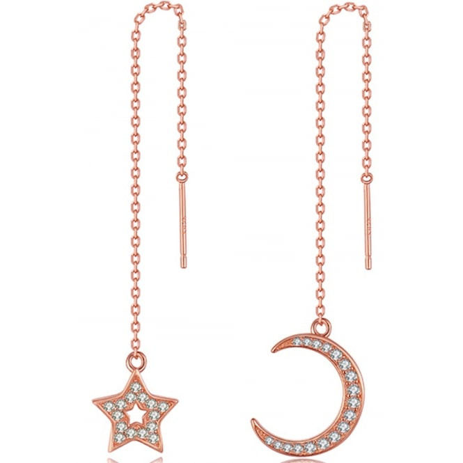 Sterling Silver Moon and Star Rose Gold Tone Long Chain Earrings