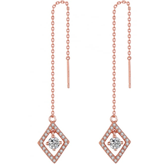 Sterling Silver Rose Gold Tone Diamond Shaped Halo Chain Earrings with Cubic Zirconia