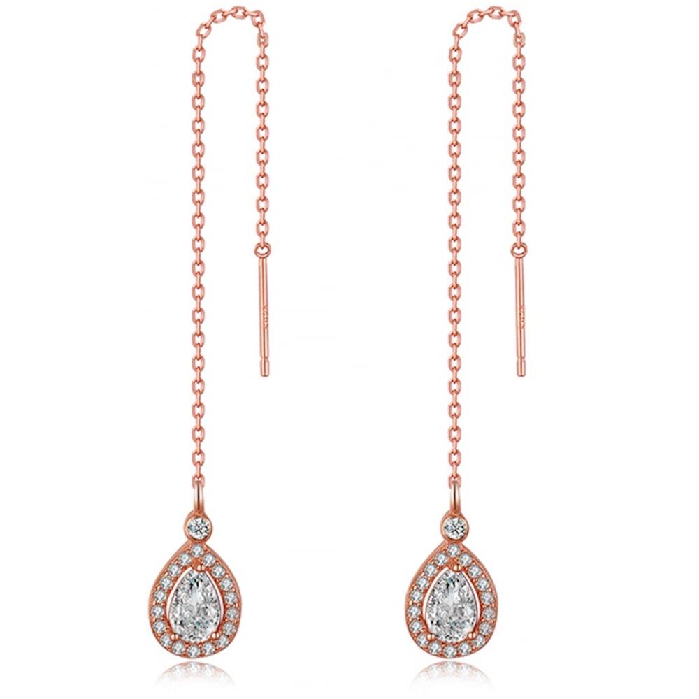 f8a327aa2 925 Sterling Silver Teardrop Cubic Zirconia Rose Gold Tone Chain Earring in 925  Silver