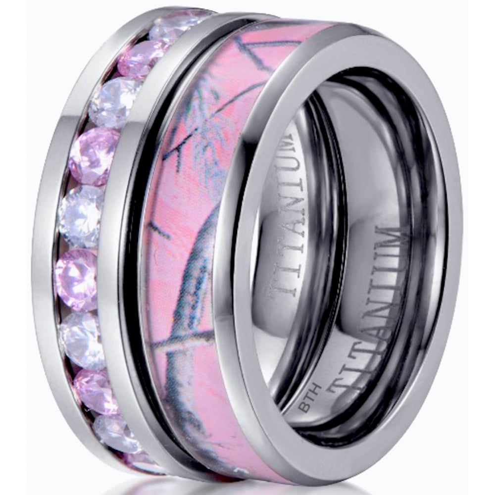 Anium 2 Piece Pink Shire Cz Eternity Band And Camo Wedding Engagement Ring Set