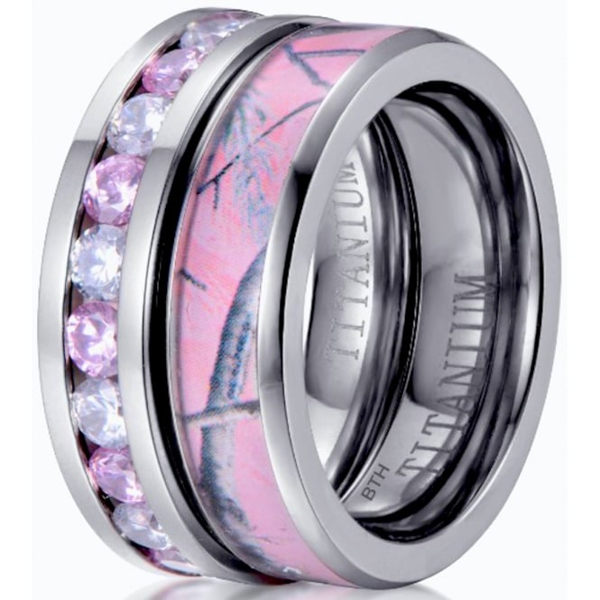 Titanium 2 Piece Pink Sapphire CZ Eternity Band And Pink Camo Wedding Engagement Ring Set