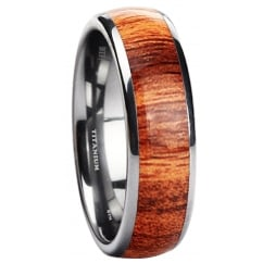 Titanium 6mm Unisex Wedding Engagement Band Ring with KOA WOOD