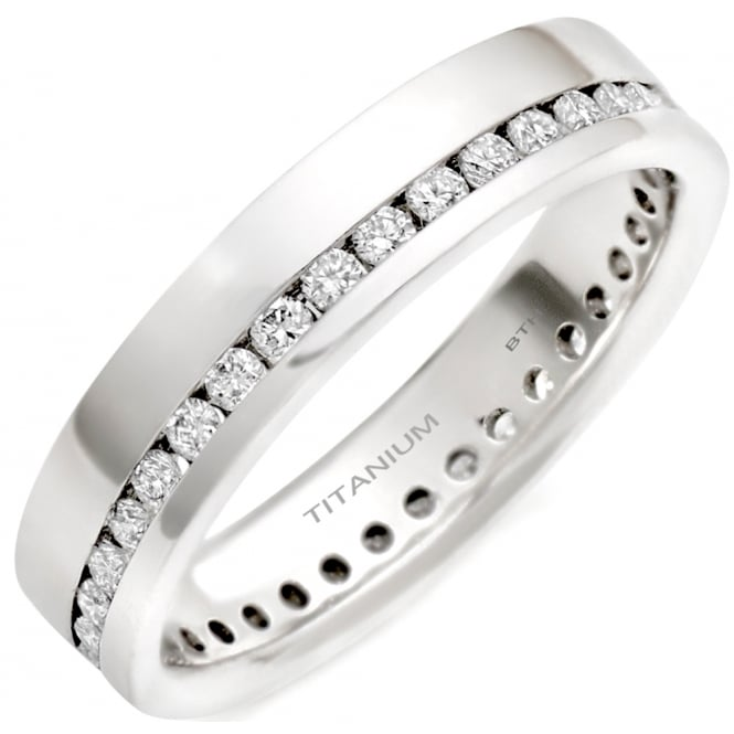 Titanium Men's/Unisex Polished Eternity Wedding Band With Cubic Zirconia