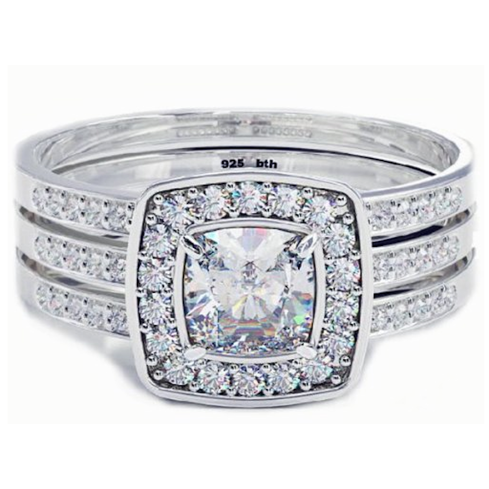 cushion cut cz halo wedding engagement bridal ring set band