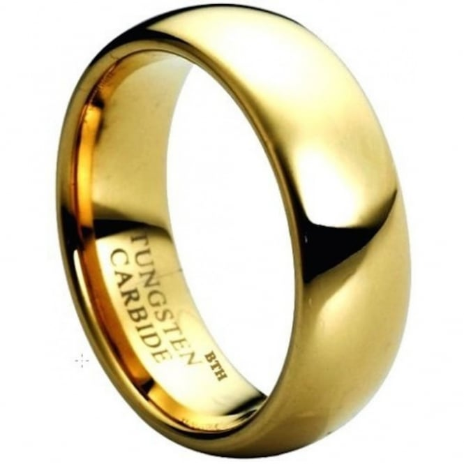 Tungsten Carbide Comfort Fit Gold Tone Wedding Band Ring- 8mm
