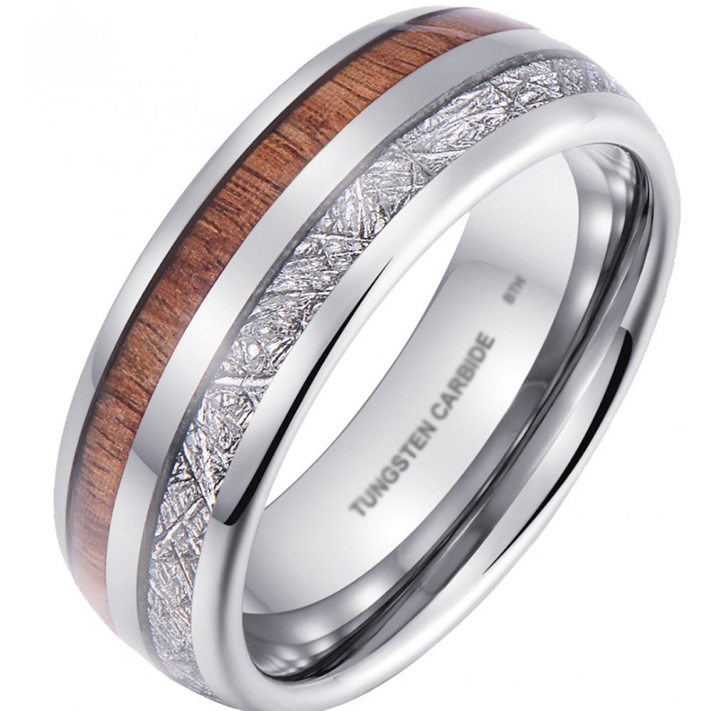 87dcd62655154 Tungsten Carbide Ring for Men with Koa Wood and Meteorite