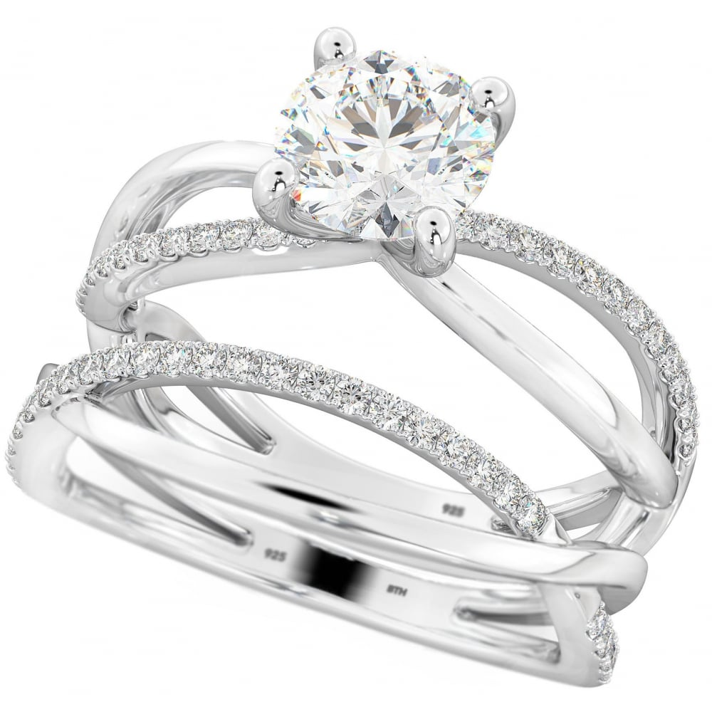 twisted infinity 925 sterling silver wedding engagement ring set - Sterling Silver Wedding Ring
