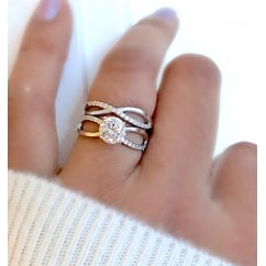Twisted Infinity 925 sterling silver Wedding Engagement Ring Set