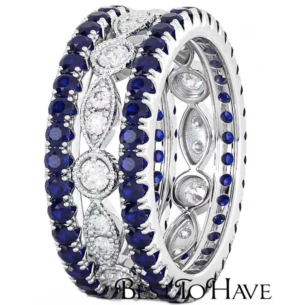 3-piece simulated blue sapphire eternity wedding bridal ring set