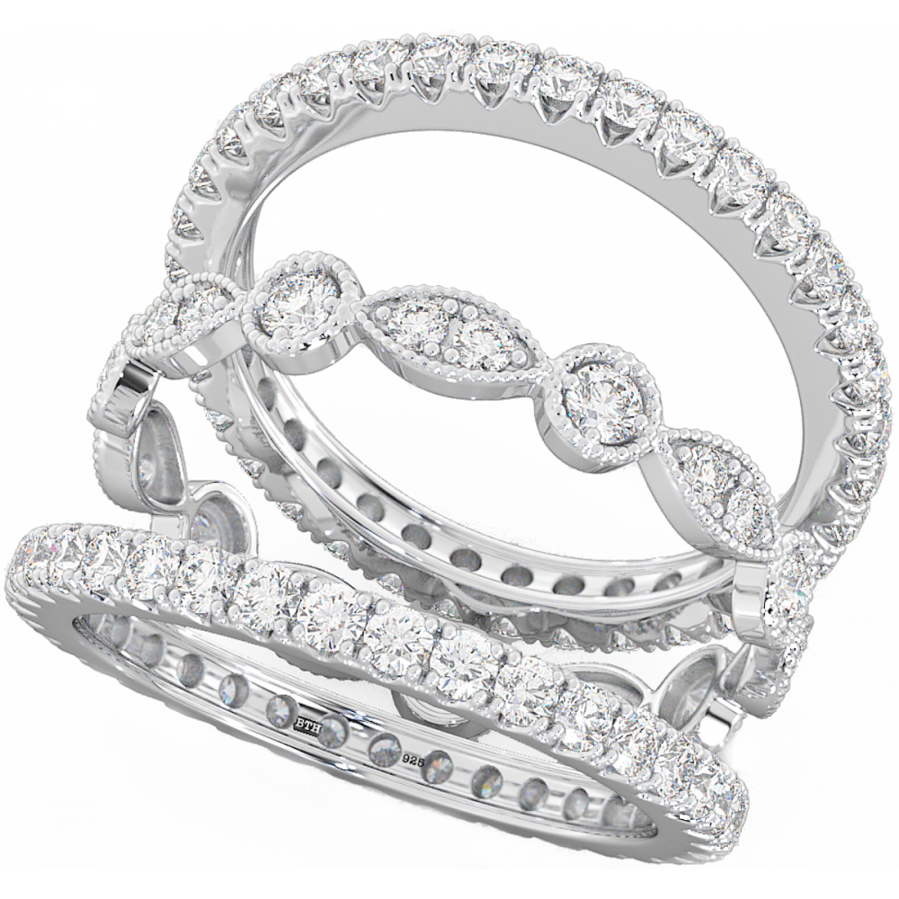 Unique 3 Piece Stackable Eternity Wedding Engagement Sterling Silver Bridal Ring Set